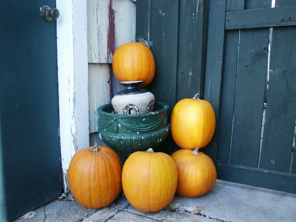 Pumpkins displayed by door to inspire in November